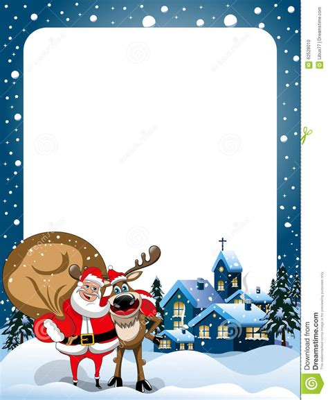 cornici glitterate frame santa claus reindeer hugging snow stock vector
