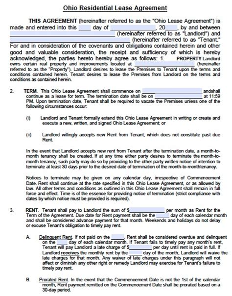 printable one year lease agreement free ohio standard residential lease agreement pdf template