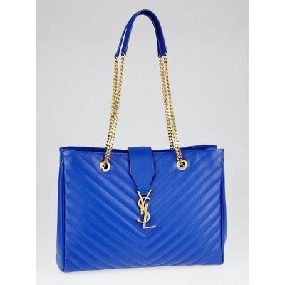 yves saint laurent blue quilted grained leather monogram
