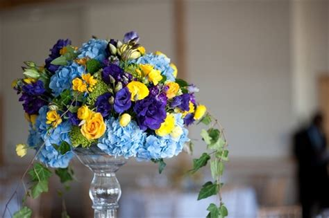 centerpiece blue and yellow wedding pinterest