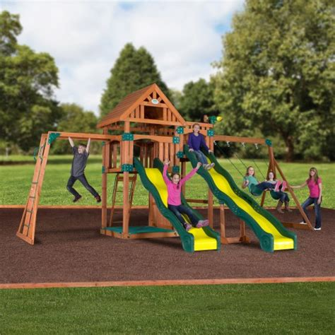 backyard wooden swing set backyard discovery crestwood 54383com wooden swing set playground