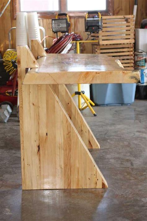 pine slab table cantilever  beau kara studios