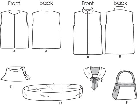 free printable vest sewing pattern butterick 5727 vest neckwarmer scarf collar and bag