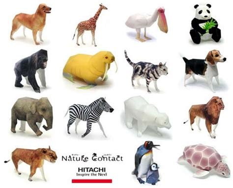 Animal Papercraft - animal papercrafts hitachi nature contact paperkraft