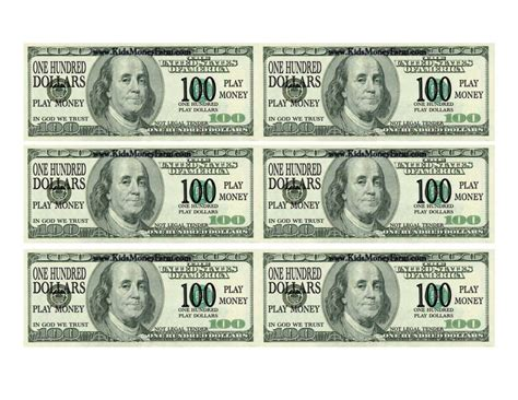 paper money template free one hundred dollar bill template and 100 bill template
