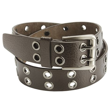 american beltway 2 prong leather belt nickle buckle for