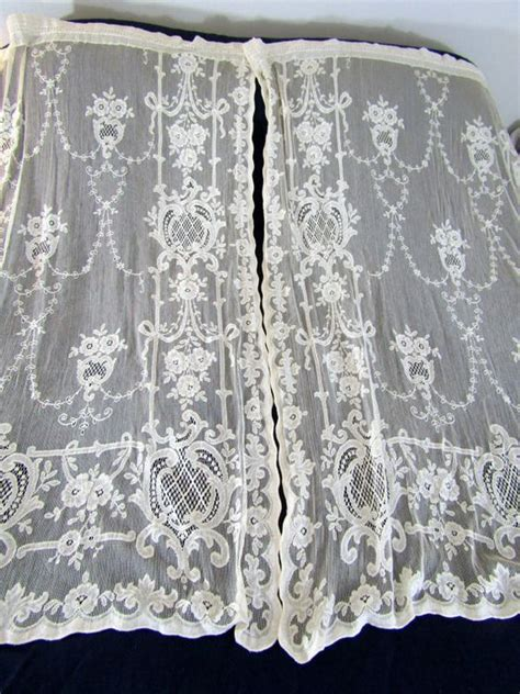cotton lace curtains gorgeous vintage ivory cotton lace curtain panels 2 47