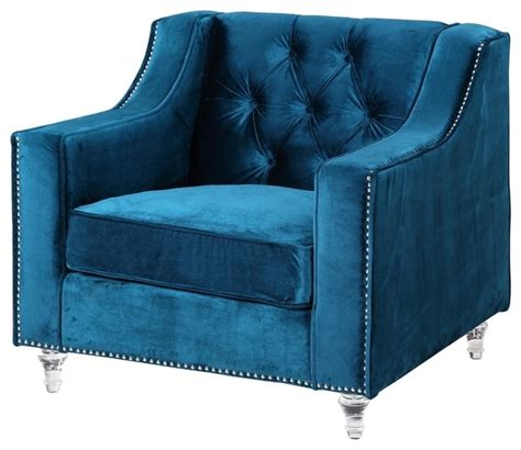 Navy Blue Velvet Accent Chair Iconic Home Velvet Button Tufted Silver Nail Trim Acrylic Club Chair View In