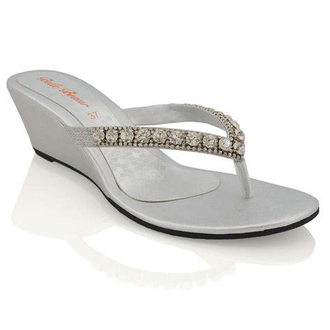 sparkly heeled sandals womens wedge heel sandals sparkly diamante flip