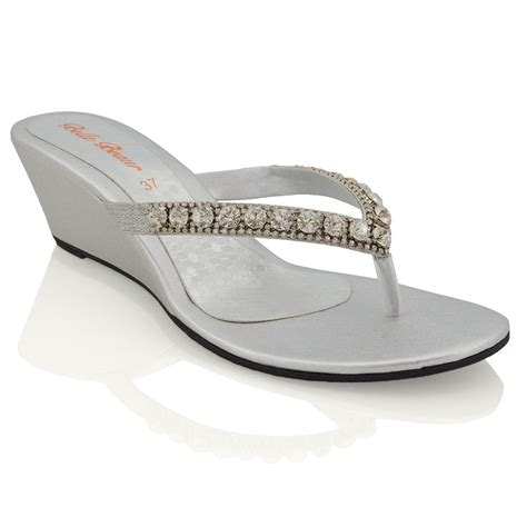 womens wedge heel sandals sparkly diamante flip