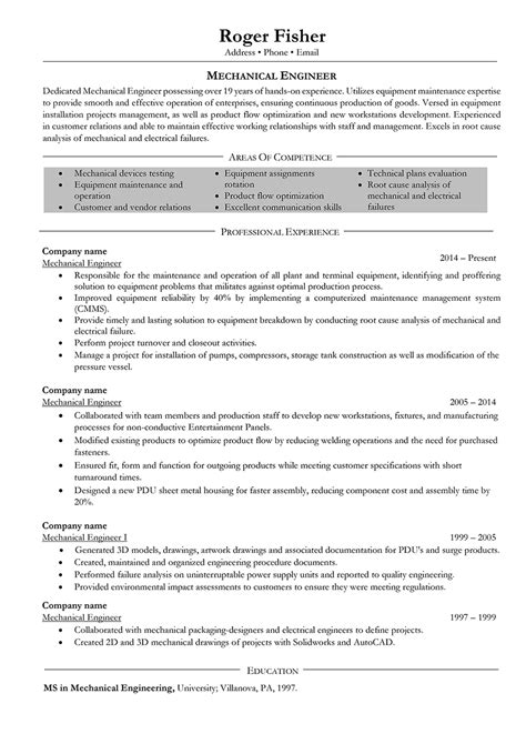 mechanical engineer resume exles mechanical engineer resume sles and writing guide 10