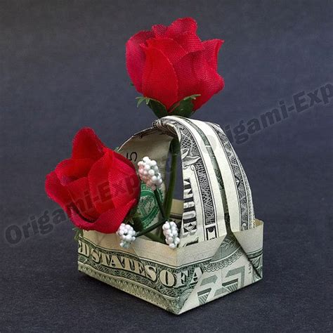 Money Origami Basket - tip gift basket dollar origami unique gift made of real
