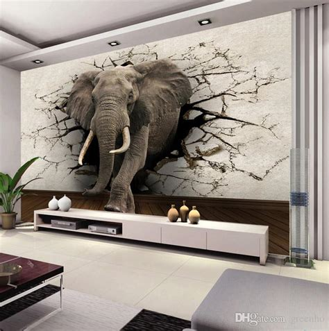 Interior Wall Murals custom 3d elephant wall mural personalized giant photo