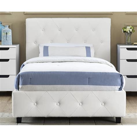 upholstered twin beds upholstered faux leather twin bed in white 4027119