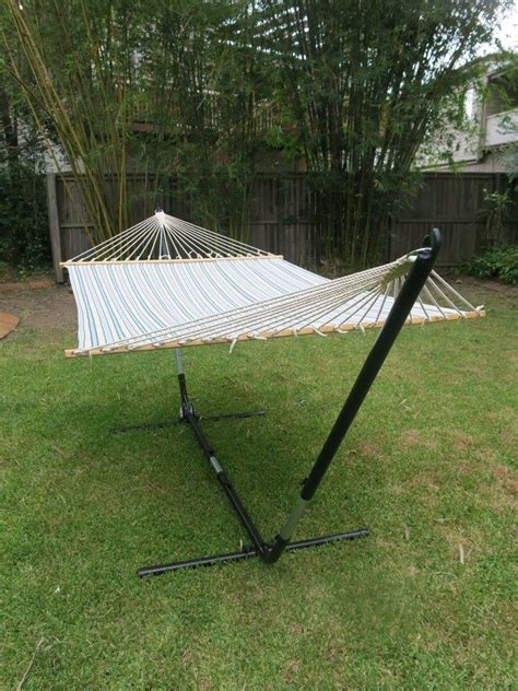 Wide Hammock With Stand X Large Free Standing Hammock Blue And White Canvas