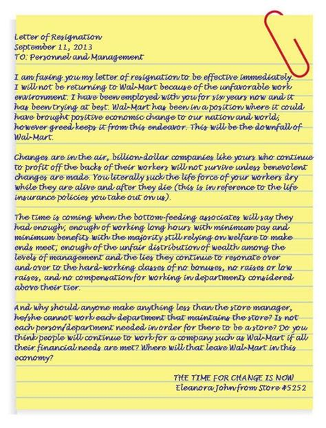 Resignation Letter Walmart Pin By Smith On Stuff