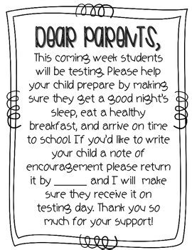 thank you letter to preschool parents let your parents that a big test is coming up and