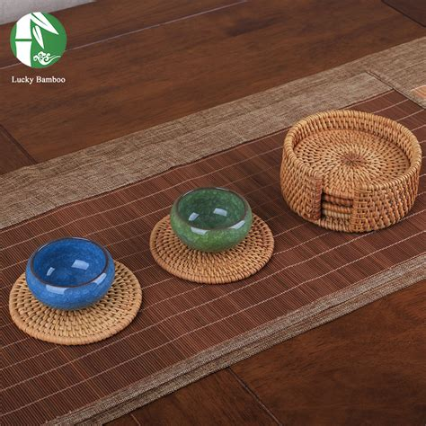 Handmade Mats - rattan tea cup mats coaster drink table mat set