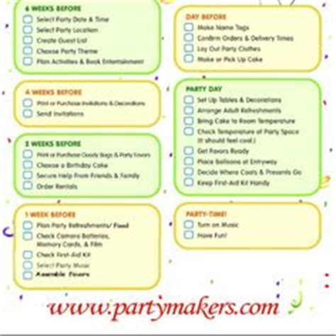 FREE Printable Party Checklist   Printable party and Timeline