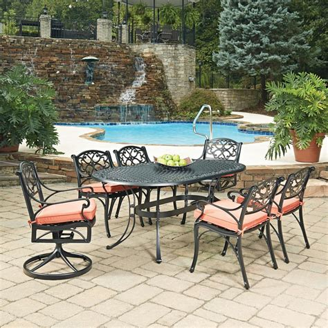 Biscayne Cast Aluminum Patio Furniture Home Styles Biscayne Black 7 Cast Aluminum Outdoor Dining Set With Coral Cushions 5554