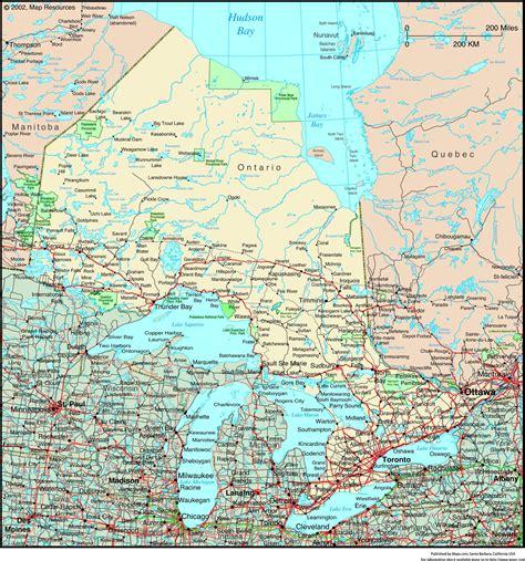 maps ontario directions ontario canada political wall map maps