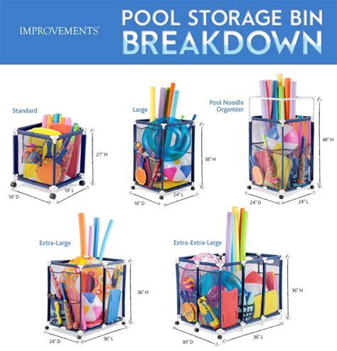 pool toy storage bins organize  lot  items