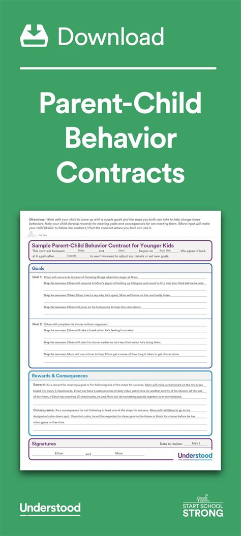 parent child behavior contract template 25 best ideas about behavior contract on