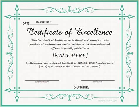 Excellence Certificate Certificate Of Excellence For Ms Word At Http