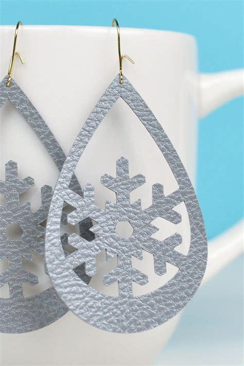 Faux Leather Earring snowflake faux leather earrings hey let s make stuff