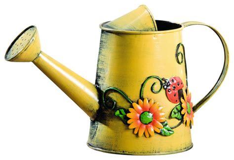 decorative sunflower ladybug metal watering can
