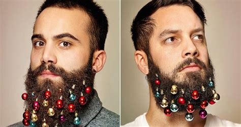 you can now decorate your hipster beard for christmas new hipster trend decorating your beard like a christmas