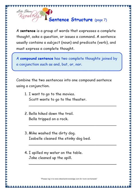 6th Grade Sentence Structure Worksheets by All Worksheets 187 Sentence Structure Worksheets Printable