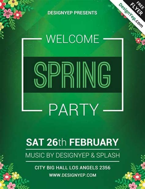 Spring Welcome Party Free Psd Flyer Template Http Freepsdflyer Com Spring Welcome Party Free Event Promo Template Free