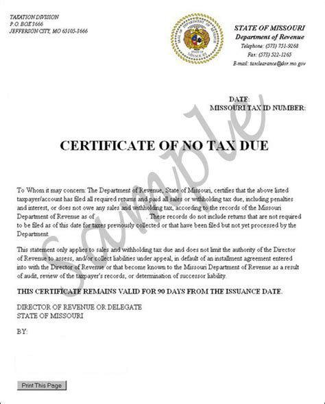certification letter for business no tax due tutorial