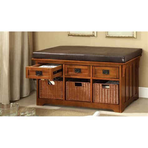 media bench furniture furniture of america clemens storage bench with baskets in