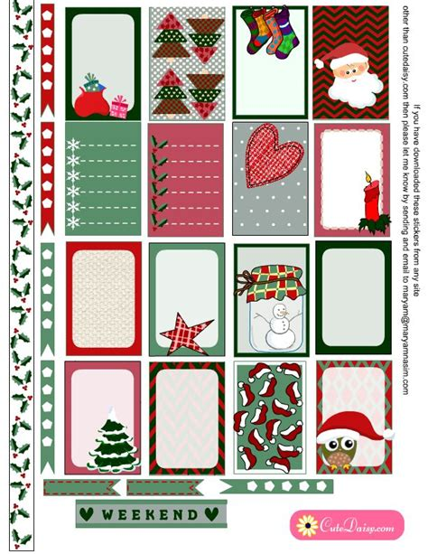 free printable christmas planner stickers 361 best free planner printables images on pinterest