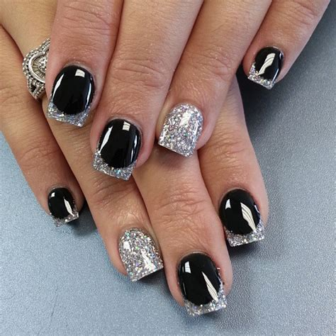 easy nail art black and silver nails on pinterest breast cancer awareness nail art and