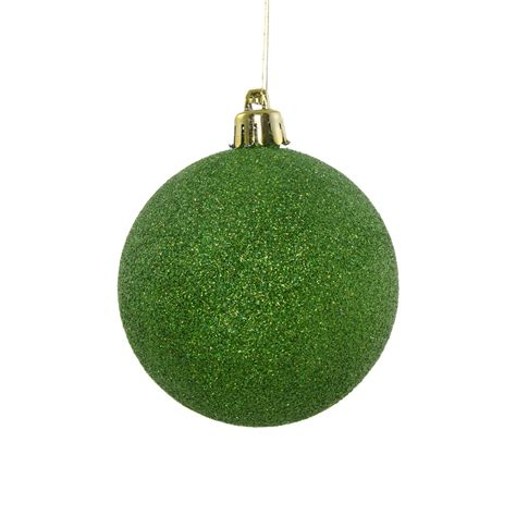 80mm round glitter ball ornament laser lime green