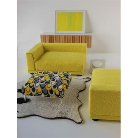 yellow and gray ottoman modern dollhouse furniture m112 pods ottoman in yellow