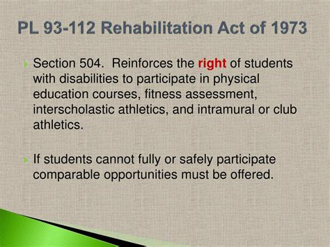 section 504 of public law 93 112 ppt adapted physical education powerpoint presentation