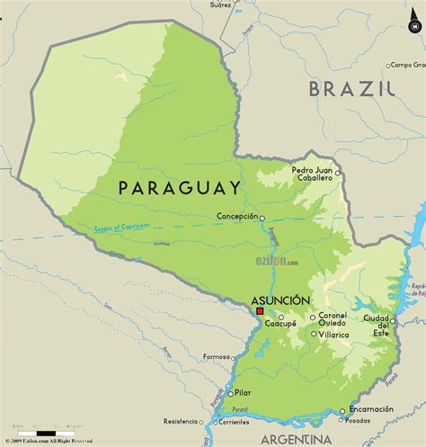 paraguay on the world map paraguay physik karte