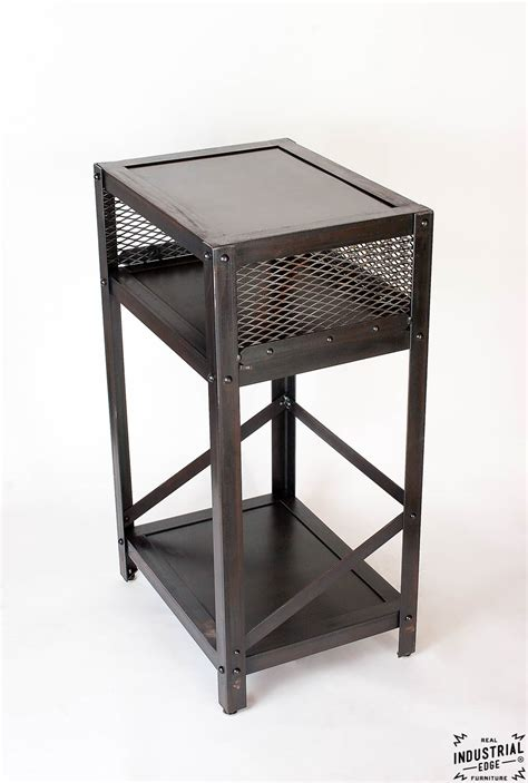 metal end table industrial end table steel real industrial edge