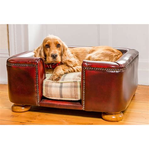 leather dog beds traditional leather tetford square chesterfield dog bed by lords labradors