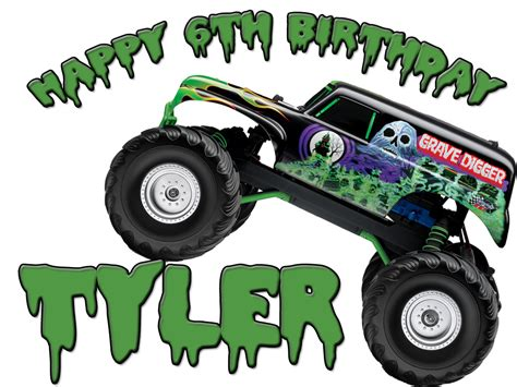 Personalized Birthday T Shirt New Grave Digger Monster
