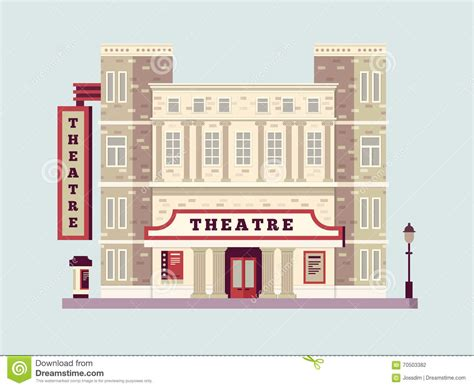 art house building design theater building design flat stock vector image 70503382