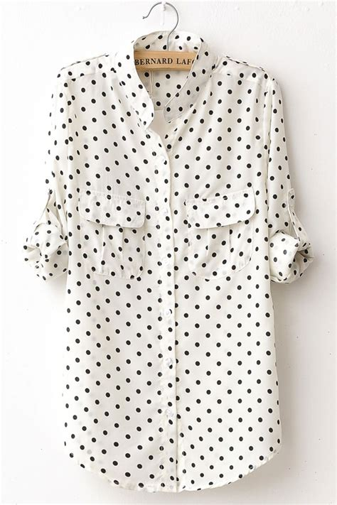 Polkadot Shirt fashion polka dot print sleeve shirt oasap