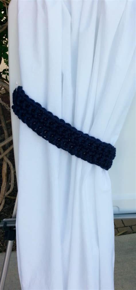 navy blue curtain tie backs handmade crochet knit solid navy dark blue curtain