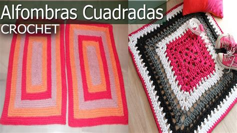 alfombras cuadrada  rectangular tejidas  crochet  dos agujas disenos  ideas youtube