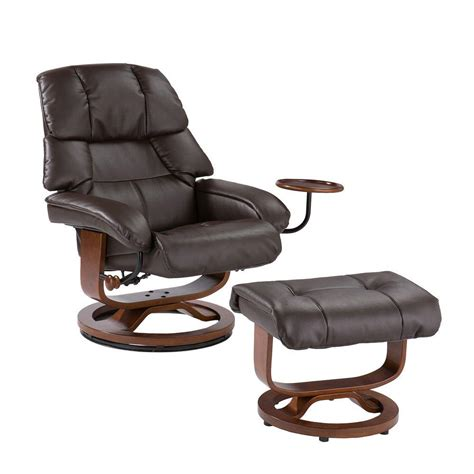 Reclining Leather Chair With Ottoman Southern Enterprises Cafe Brown Leather Reclining Chair
