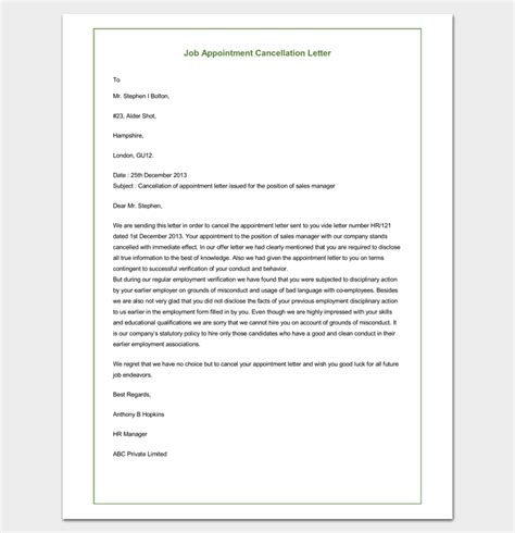 cancellation letter vacancy appointment cancellation letter 10 sles exles